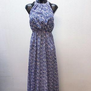 Jessica Simpson Blue & White Floral Halter Dress